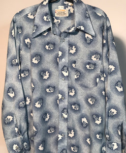 Men's Ultima Baby Blue Floral 1970s Disco Shirt Size Medium RENTAL