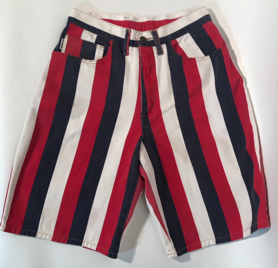Hip Hop Brand Red White & Blue Long Denim Unisex Shorts 30