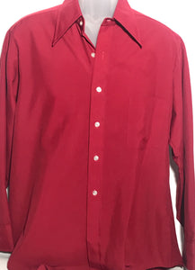Vintage 1970s Sears Men's Maroon Dress Shirt Size Large RENTAL L933