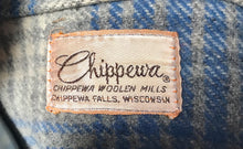 Vintage 1960s Mens Chippewa Lumberjack Blue Wool Plaid Hunting Field Jacket Sz XL