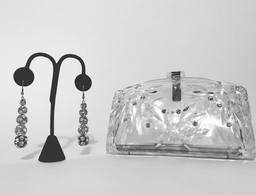 1950s Vintage Clear Lucite Carved Clutch Purse With Rhinestone Inset & Earring Set