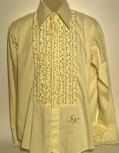 Lion of Troy Yellow Vintage Men's Disco Ruffled Tux Shirt Size Large RENTAL