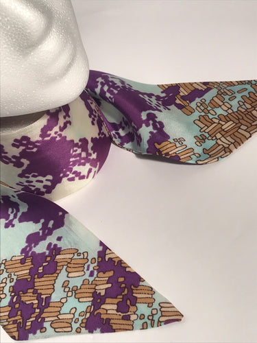Vintage 1970s Purple Blue Abstract Patterned Head & Neck Scarf