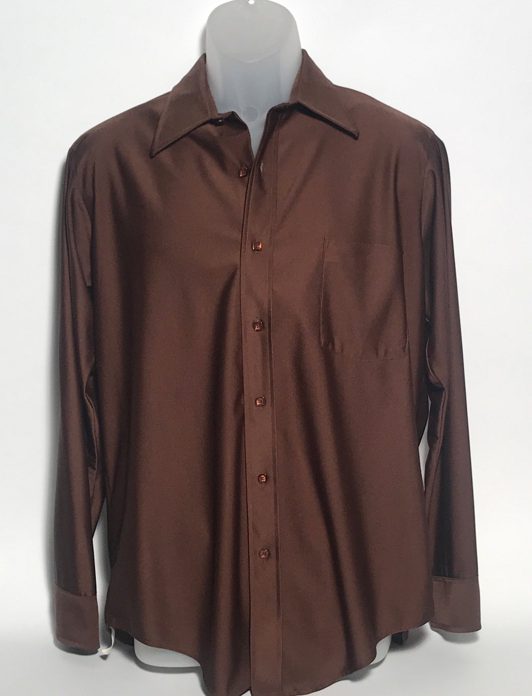 Van Heusen Qiana Vintage Brown Men's Disco Shirt Size Medium