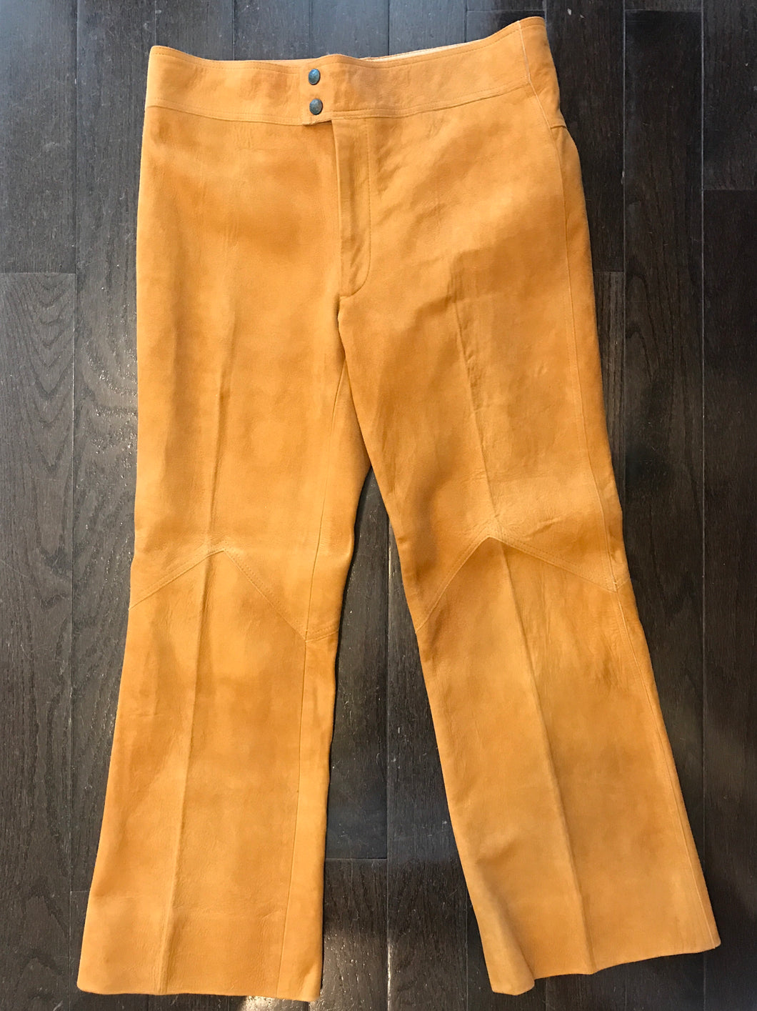 Mens Brown Suede Leather Rocker Pants 34