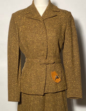1950s Sage Green Woman's Belted Wool Suit By Betty Rose