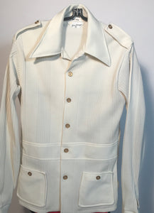 Gino Barozzi Men's Polyester 1970s Cream Button Down Shirt Size Medium