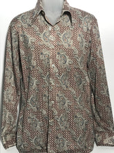 Men's Paisley Polyester 1970s Disco Shirt Size Extra Large RENTAL XL938