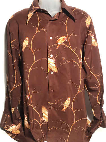 Vintage 1970s Men's Disco Bird Shirt Extra Large RENTAL XL925