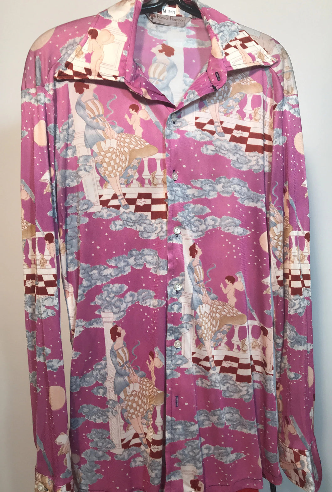 Men's Polyester Disco Shirt Blye Of Florence Size Medium RENTAL M991