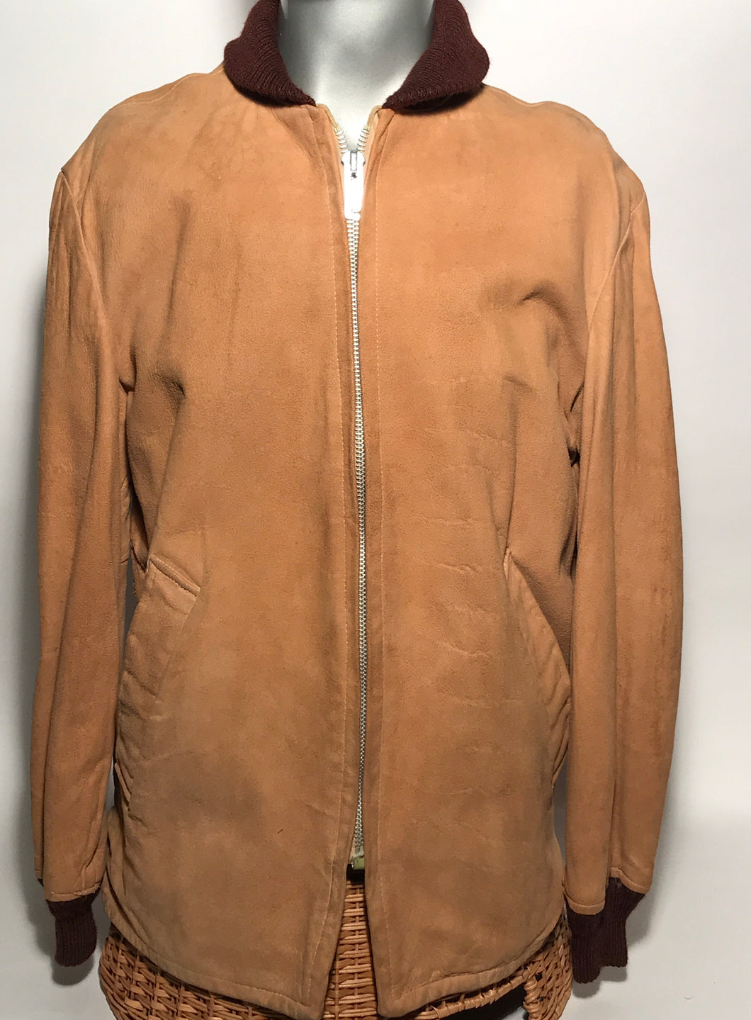 Vintage Late 1950s Men's McGregor Light Brown Suede Jacket Size 42