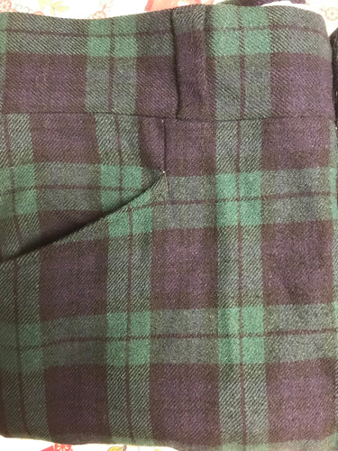 Men's Pendleton Wool Navy & Green Plaid Pants 35