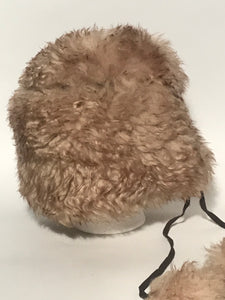 Vintage 1960s - 1970s Italian Lambswool Sheepskin Pom Pom Hat Natural Browns