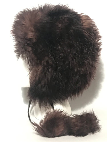 Vintage 1960s - 1970s Italian Lambswool Sheepskin Pom Pom Hat Dyed Dark Brown