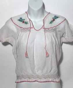 1980s Embroidered Peasant Top Made In India Size M