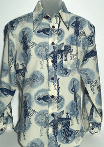 Prince Romano Vintage Men's Blue Polka Dot Disco Shirt Size Large RENTAL
