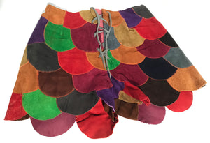 1960s - 1970s Suede Patchwork Color Block Hot Pants Hippie Shorts