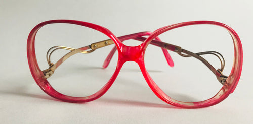 Impulsive 80s Pink Modeled Plastic & Gold tone Wire Eyeglass Frames