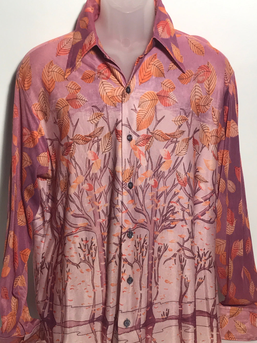1970s Fall Leaves Men's Disco Shirt Size Extra Large RENTAL XL939