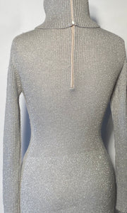 Bargello 1970s Silver Metallic High Turtleneck Cable Knit Maxi Dress