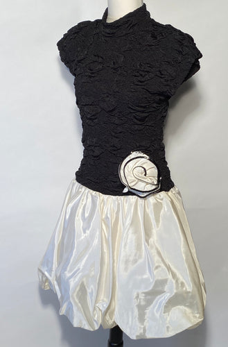1980s Nuance Taffeta Black White Bubble Prom Dress Sequin Rose