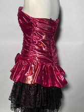 Night Moves 1980s Pink Metallic Strapless Lace Prom Party Dress Jr 13/14
