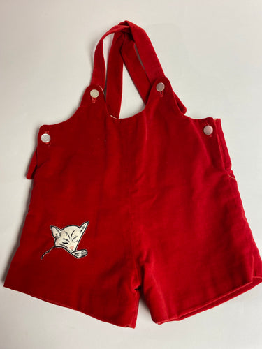 Vintage Valentine Romper Infant Red Velvet Jumper Kitty Embroidery