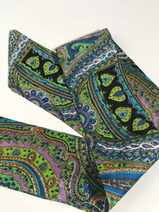 Vintage Green Blue Paisley Long Floral Head Scarf