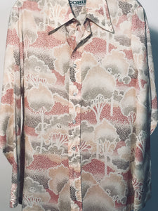 Men's Polyester 1970s Disco Shirt Size Small - Forest RENTAL S894