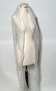 "Vintage Pearl Beaded Veil Topper & Long 92"" Embroidered Lace Train"