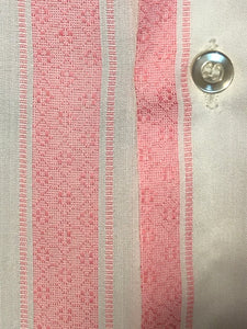 Men's Disco 1970s Pink & White Striped Button Down Shirt Size Medium