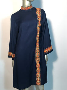 Vintage 1970s Navy Hand Embroidered Shift Naru Style Bell Sleeve