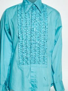 Vintage Turquoise Blue Men's Disco Ruffled Tux Shirt Size Medium RENTAL