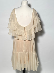 1970's Helft's Layered Ruffled Off Shoulder Rose Bud Front Dress