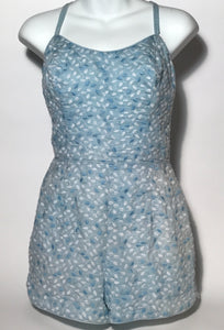 1950s Embroidered Blue & White Bathing Suit From Tiki Of Beverly Hills
