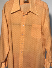 Van Heusen 417 1970s Orange Paisley Men's Disco Shirt Size RENTAL Large