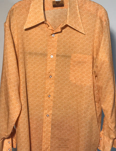 Van Heusen 417 1970s Orange Paisley Men's Disco Shirt Size Large