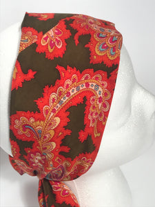Vintage Orange Paisley Long Floral Head Scarf