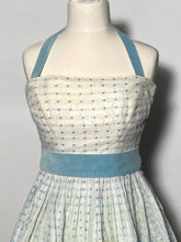 1950s Blue Swiss Polka Dot Full Skirted Halter Prom Dress Size Extra Small
