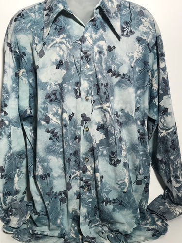 Blue Floral Men's Disco Shirt Size Double Extra Large Disco RENTAL XXL