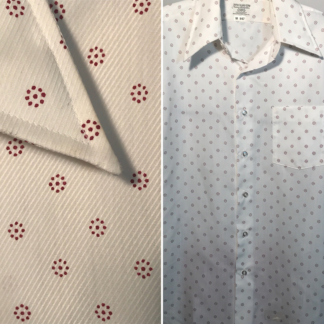 Men's 1970s Polka Dot Button Down Shirt Size Medium