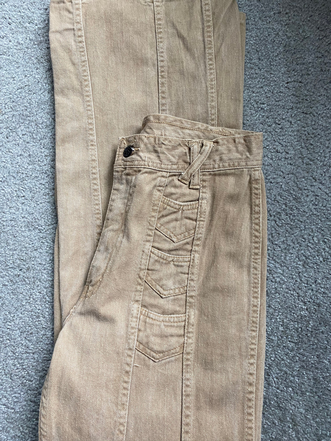 1970s Men's Tall Vintage Hands Off Light Brown Cotton Flare Pants 31