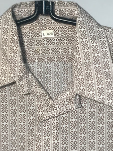 1970s Brown Patterned Men's Disco Shirt Button Down Size Large RENTAL L828
