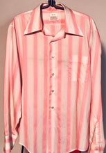 Men's Disco 1970s Pink & White Striped Button Down Shirt Size Medium RENTAL
