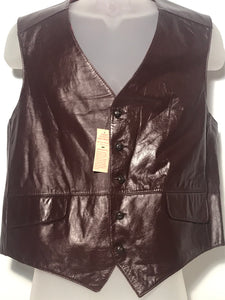 Men's Vintage Leather Trailmaster Burgundy Vest Size 44 NWT