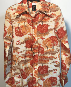Men's Polyester 1970s Disco Shirt Size Small - Trees