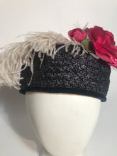 Vintage 1960s Navy Blue Straw Pillbox Ostrich Feather & Rose
