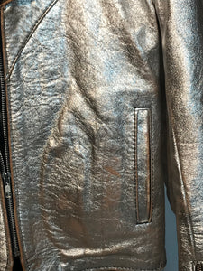 Early 1970s Men's Rocker Silver Metallic Leather Jacket Size Small