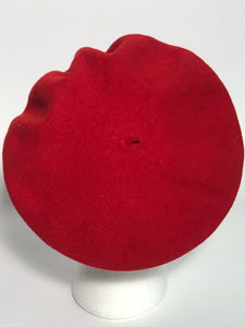 1970s Red French Style Wool Beret