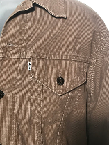 Vintage 1980s Levis Tan Corduroy Waist Jacket Made In USA Sz 46